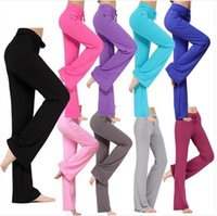 Wholesale flared yoga pants resale online - Solid Palazzo Pants Foldover Wide Leg High Waist Flare Pants Yoga Fitness Pant Dance Slim Loose Trousers Colors OOA4187