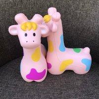 ingrosso bambola rosa giraffa-Squishy Jumbo Animal Squishy lento aumento Squeeze Toy Kawaii Giraffe Doll Squishies Giocattoli decompressione Regalo per bambini Rosa 23mn CR