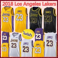 Wholesale cities xl - 23 James Lakers Jersey 2018 New Los Angeles Lakers LeBron James Jerseys Black city Basketball Jerseys Gold Yellow White Purple Blue
