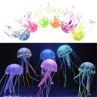 ornamento do tanque das medusa venda por atacado-Vivid Glowing Effect Fluorescente Artificial Jellyfish Aquarium Fish Tank Decoração Ornamento Swim Pool Bath Decor Mini Night aquário