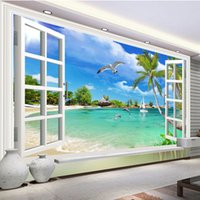 Wholesale fiberglass wall coverings - Custom Photo Wallpaper Hawaii 3D Window Scenery Bedroom Living Room Sofa TV Background Wall Covering Mural Wallpapers For Wall