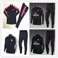 Wholesale psg jacket - 2018 19 PSG Franc Two stars tracksuit training suit aaa quality CAVANI soccer Jerseys kit VERRATT paris football jacket tracksuit set