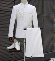 ingrosso grandi fiori bianchi-Abito tunica cinese Plus Size Bianco Set Big Stones Argento con paillettes Fiori ricamati pantaloni slim giacca Uomo Cantante Visualizza Stage Wear