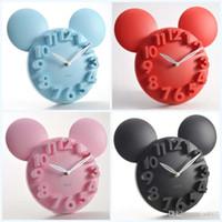 grande arte 3d venda por atacado-Big 3d Rodada Relógio De Parede Digital Grande Decoração Relógios de Design de Arte Moderna Silencioso Pendurado Relógio de Cozinha Em Casa Dos Desenhos Animados Forma Mix Color 22js jj