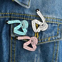 Wholesale designer tools - Measuring tape Enamel Pin White Pink Blue Measure tools Brooch Sewing Lapel Pins Button Badge Jewelry Gift for Kids Designer drop shipping