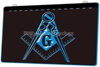 emblèmes led achat en gros de-[F782] Maçonnique Maçon Emblème Franc-Maçon NOUVELLE Gravure 3D Signe Lumineux LED Personnaliser à la Demande 8 couleurs