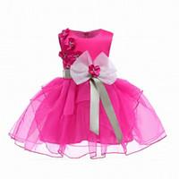 Wholesale pink rose brand dress - INS Girl Princess Bow Dress Dobby Rose Flower tutu Style Summer Sleeveless Ball Gown Dress Kids Elegant Dress NEW Arrival