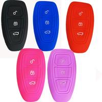 ford key covers venda por atacado-Silicone 3 Botões Inteligente Key Fob Remoto Keyless Entry Case Capa Protector para Ford Mondeo Foco 3 MK3 ST Kuga Fiesta Fuga Ecosport Titaniu