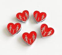 cinturones de corazon rojo al por mayor-10 unids 8 MM Esmalte Red Heart Heart Slide Charms Beads DIY Accesorios Fit 8mm Collar Cinturones Pulseras