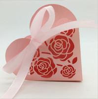 ingrosso confezioni regalo doccia per bambini-Cuore di carta regalo di cioccolato perlato a forma di cuore a forma di cuore di taglio del mollettio con nastro per baby shower bomboniere scatole di imballaggio
