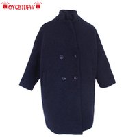 Wholesale Korean Women Xs Wool Coat - Coats Wide-waisted Wool Sale Bayan Kaban Women Section Coat 2017 New Korean Version Long Pure Color Loose Double Breasted Xx005