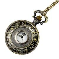 reloj de bolsillo del zodiaco al por mayor-2018 Trend Moda Reloj de bolsillo conmemorativo Hombres y mujeres Love Casual Wild Table Retro Classic 12 Zodiac Hollow Pocket Watch