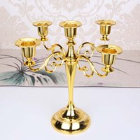 Wholesale vintage candle stands - Metal 5 arms Candle Holders romantic vintage 4 colors home decoration weeding party Candle Stand Wedding Candlestick candelabra