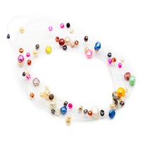 Wholesale beaded necklaces online - Fashionable pearl jewelry beaded freshwater pearl multi layer dyed pearl fish line necklace