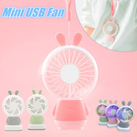 Wholesale travel fan - 1PCS Portable Handheld USB Fan Mini Cartoon Rabbit  Bear Luminous Colorful Rechargeable Fan for Travel Office Student Dormitory for Kids Gi
