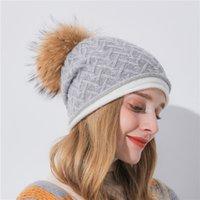 örgülü bere şapkaları toptan satış-Kadın Kış Yumuşak Örme Bere Şapka Gerçek kaput femme hiver örgülü kaşmir örgü şapka kış şapkalar kadınlar yeni sıcak