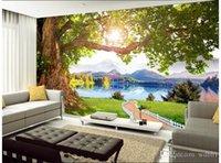 baummalerei malerei großhandel-3d wallpaper benutzerdefinierte foto vlies wandbild bergsee baum landschaft raumdekor malerei bild 3d wand mualals tapeten für w ... 3 d