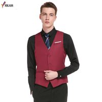 Wholesale Thin Sleeve For Dresses - 2017 New Style Single Breasted Vintage Suit Vests for Men Slim Men Gilet Wedding Waistcoats Colete Homem Sleeveless Dress Vests