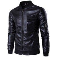 erkek deri uçuş ceketi toptan satış-2018 Yeni marka erkek deri ceket Sonbahar Standı Yaka Nakış Hava Kuvvetleri MA-1 Uçuş Ceket Erkekler Bombacı Ceket Büyük Boy 3XL 4XL 5XL