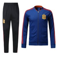 Wholesale quality winter coats men - 18 19 Spain Blue Soccer Tracksuit Adult Thai Quality Full Sleeve football Jacket And Pants 2018 Espana Training Suits Winter Soccer Coats