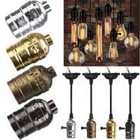base ampoules achat en gros de-Rétro Vintage Edison E26 / E27 Vis Ampoule En Aluminium Shell Base Lampe Ampoule Titulaire Pendentif Éclairage Socket Plafond Adaptateur Câble