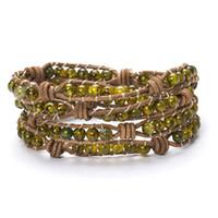 bracelets enroulés jaune achat en gros de-Femmes Hommes Rond Perle Bracelet 6mm Naturel Jaune Dragon Motif Pierre En Cuir Charme Brin À La Main Tissé Wrap Bracelet Bijoux
