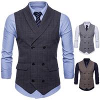 Wholesale new style men vest online - New England Wind Men s Business Vest Fashion Men Cotton Leisure Plaid Small Slim Vest For Male New Style Grey Coffee men casual Suit Vest