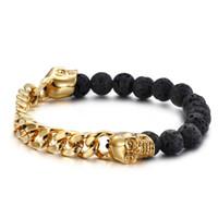 schwarzes perlen armband für frauen groihandel-2019 mode schwarz vulkan lava stein goldenen schädel armband hip hop armbänder yoga perlen 8,5mm perlen armband frauen männer schmuck g820r f