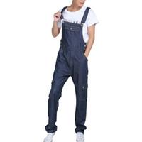 plus size denim jumpsuits UK - Mens Baggy Multipockets Denim Bib Overalls Loose Jeans Jumpsuits For Male Suspender Pants Cargo Jeans Plus Size S-5XL
