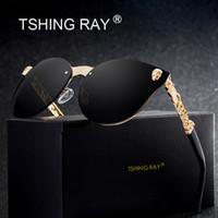 vintage gothic mode großhandel-TSHING RAY Fashion Gothic Schädel Randlose Cat Eye Sonnenbrille Frauen Männer Vintage Cameo Beine Übergroße Cateye Sonnenbrille Für Weibliche