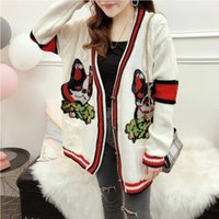 Wholesale computer dogs for sale - Group buy Seiwnibu Runway Women Knitted Sweater Dog Embroidery Red Striped Contrast Beige knitting loose v neck Cardigan Female Outwear