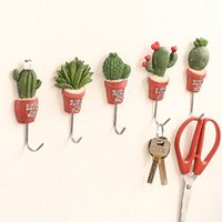 Wholesale Small Wall Hooks - New Simulation of small potted green Stainless Steel Robe Hanging Hooks Hats Key Adhesive Wall Hanger Bathroom Kitchen Accessory
