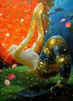 pintura a óleo das canvas dos peixes venda por atacado-Victor Nizovtsev Pintura a óleo Sonho peixe série Sereia Reprodução de Arte Impressão Giclée em Tela Moderna arte Da Parede Home Art Decoração VN053