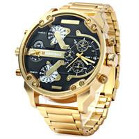 relógios de luxo venda por atacado-Relógio de luxo Homens À Prova D 'Água SHIWEIBAO Dual Time Display de Pulso de Quartzo com Aço Inoxidável Banda de Quartzo relógios de Pulso