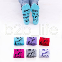 Wholesale funny football soccer - Unicorn Funny Socks SINCE YOU ARE READING THIS BRING ME A Letter Printed Unicorn Socks Cartoon Women Kids Sports Socks AAA618