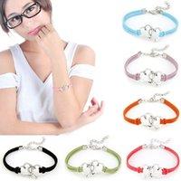 herz gewebte legierung großhandel-Liebe Herz Armbänder Armreifen Für Frauen Legierung Einstellbare Seil ewelry Weave Armband Armband Lederarmband