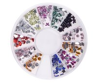 Wholesale acrylic drills - Wholesale 12 grid drill box acrylic mixed new nail small disk DIY fingernail decoration and sticking