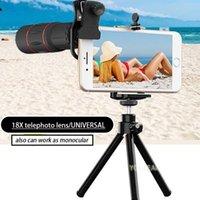 evrensel mobil mercek tripodu toptan satış-Telefoto lens ile tripod 18X lens için cep telefonu teleskop evrensel zoom lens monoküler