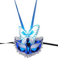 Wholesale Decorating Masks - Halloween men female Mask Electroplating Glowing Butterfly Mask Party Princess Mask Pearl decorated Venetian masquerade masks