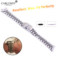 22mm curvado banda de reloj final al por mayor-22mm Hollow Curved End Solid Screw Links Acero inoxidable Silver Watch Band Correa Old Style Jubilee Pulsera Double Push Corchete