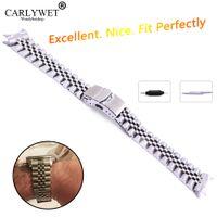 ingrosso braccialetto d'argento doppio collegamento-22mm Hollow Curved End Solid Vite Links Acciaio inossidabile Argento Cinturino Cinturino Old Style Jubilee Bracciale Double Push Clasp
