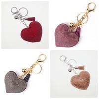 Wholesale korean car styling - Korean Style Heat Love Shape Keychain Rhinestone Decoration Fashion Key Ring For Valentine Day Gift With Tassels Keys Buckle 4 9lk Z