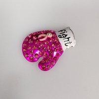 broche de câncer de mama venda por atacado-Consciência do cancro da mama Brooch Rhinestone Flat back Glove Broches Pins