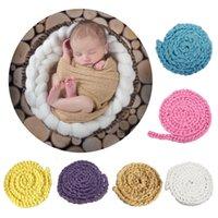 neugeborene babykörbe großhandel-Neugeborenen Fotografie Requisiten handgemachte stricken Baby Foto Decke Korb Acryl Filler Braid Korb Stuffer Atrezzo Fotos 2C0401