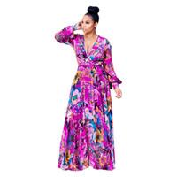 ropa de gasa de seda al por mayor-yA600 envío gratis nuevo estilo de la ropa informal de las mujeres de manga larga profunda V ice gasa vestido de flores de seda