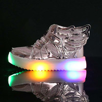 Wholesale Fashion Little Boy - EU21-36 Children Shoes With Light New Fashion Glowing Sneakers Boys Little Girls Shoes Wings Canvas Flats Spring Kids Light Up Shoes