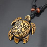 Wholesale Turtle Necklace Bone - Multi-Color Vintage Yak Bone Carving Lucky Surfing Turtles Pendants Necklaces Imitation Bone Length Adjustable Rope Pendants Wholesale