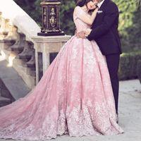 vestidos largos de corsé de noche al por mayor-2018 Pink Ball Gown Prom Dresses Off Hombro apliques de encaje Cap Sleeves Corset Back Long Party Gowns Vestido de noche Glamorous Arabia Saudita