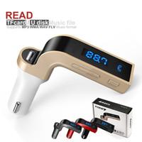 rádio lcd display venda por atacado-G7 Transmissor FM 4-em-1 Multifuncional CAR Bluetooth com USB MP3 Player flash drives Rádio TF com Display LCD Mic venda Quente