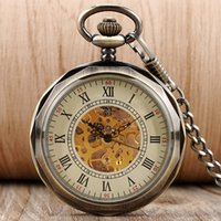Wholesale Mechanical Vintage Pocket Watches - Vintage Open Face Roman Numberal Hand Winding Mechanical Pocket Watch Pendant Fob Chain Steampunk Watches for Men Women